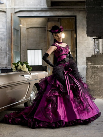 Black And Purple Gothic Wedding Dresses