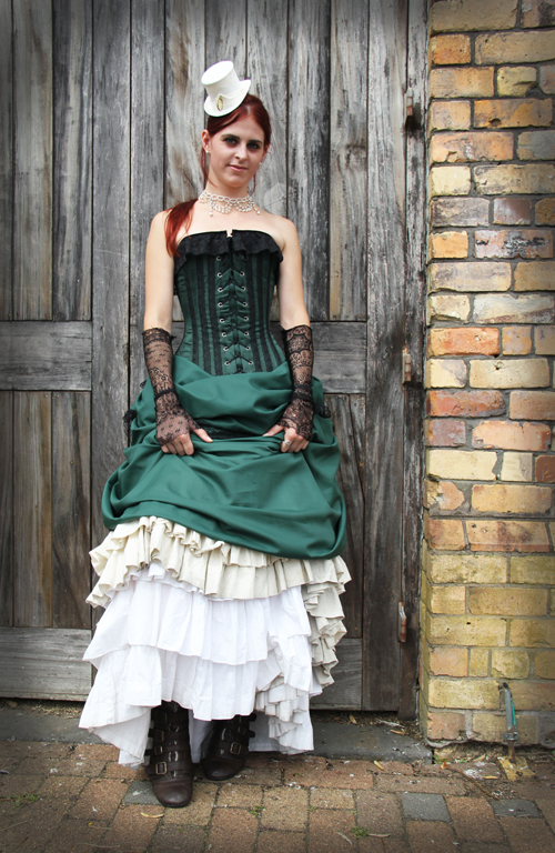 steampunk-wedding-gown-green-white